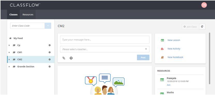 ClassFlow – interface du compte élève