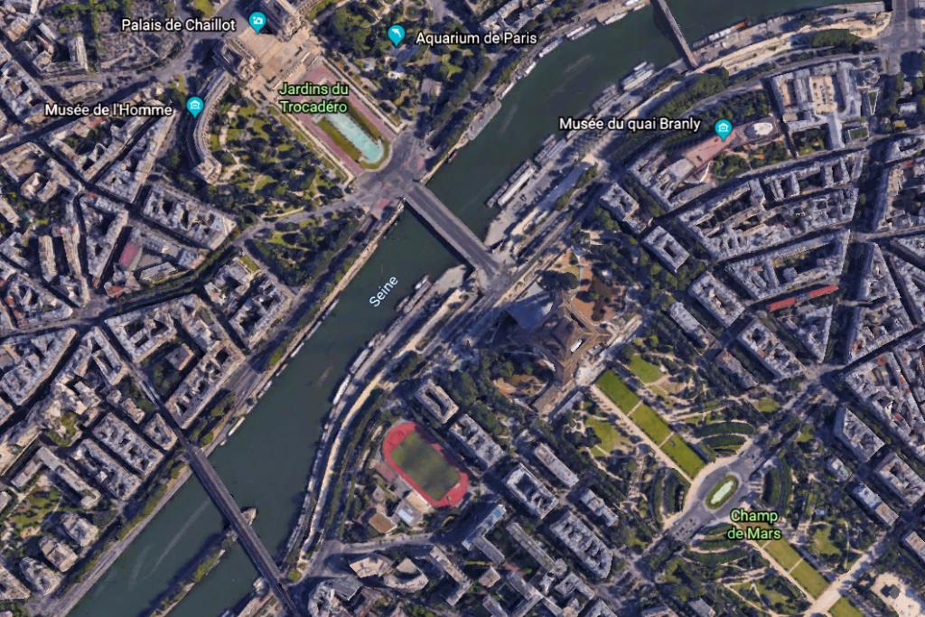 Paris dans Google Earth