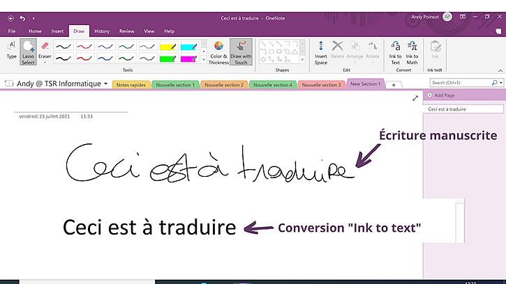 conversion ecriture manuscrite en texte