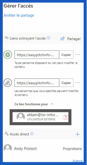Arrêter le partage d'un document Word dans OneDrive - Zoom