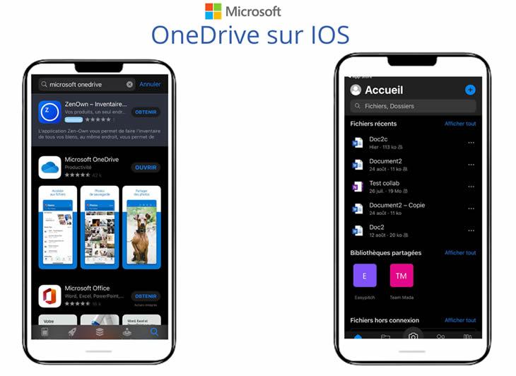 Installation de l'application Microsoft OneDrive - IOS
