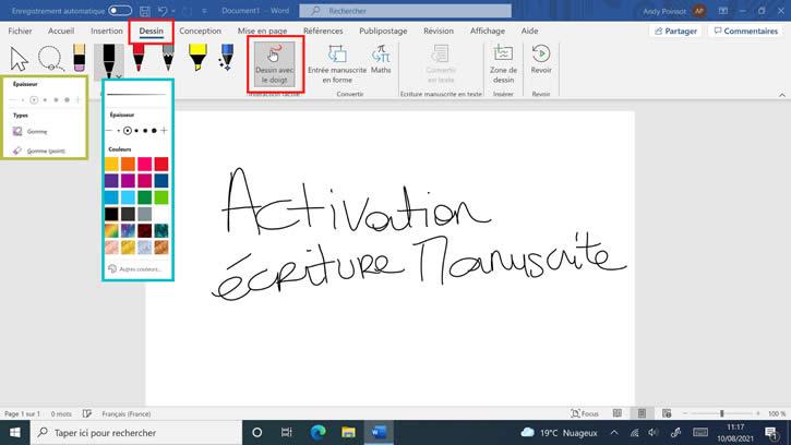 activer écriture manuscrite Word