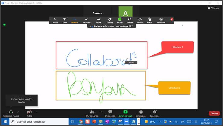 Collaboration à plusieurs sur whiteboard