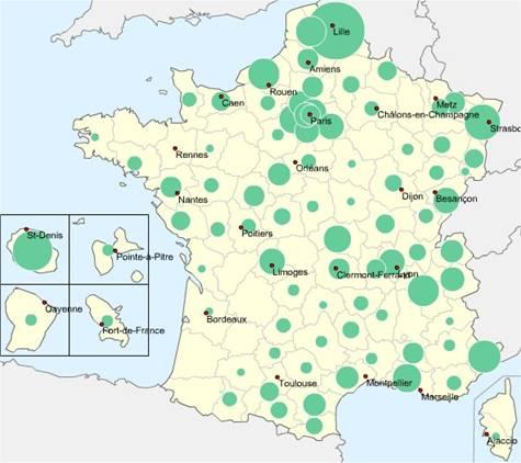 Répartition géographique des TBI en mars 2005